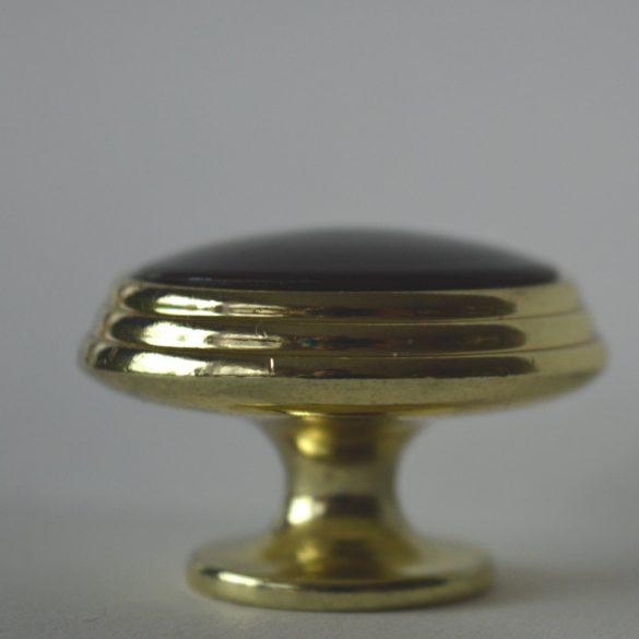 Fém-műanyag gomb bútorfogantyú, arany-mahagóni szín, 34 mm átmérő
