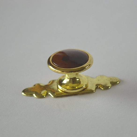 Fém bútorfogantyú, arany - mahagóni bútorgomb, talp résszel