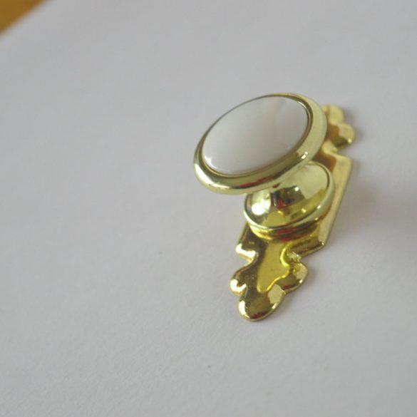 Retro fém bútorfogantyú, arany - fehér bútorgomb