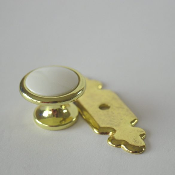 Fém bútorgomb, arany - fehér színű