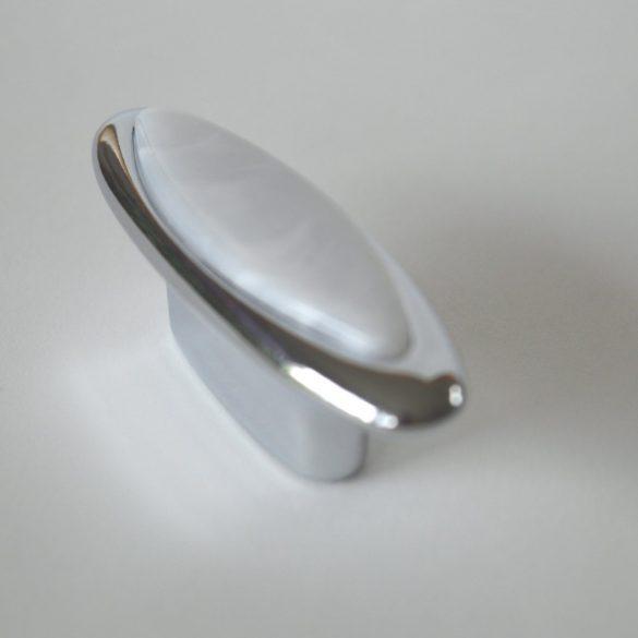 Fém bútorfogantyú, fényes króm, fehér-márvány mintával, 32 mm furattávval