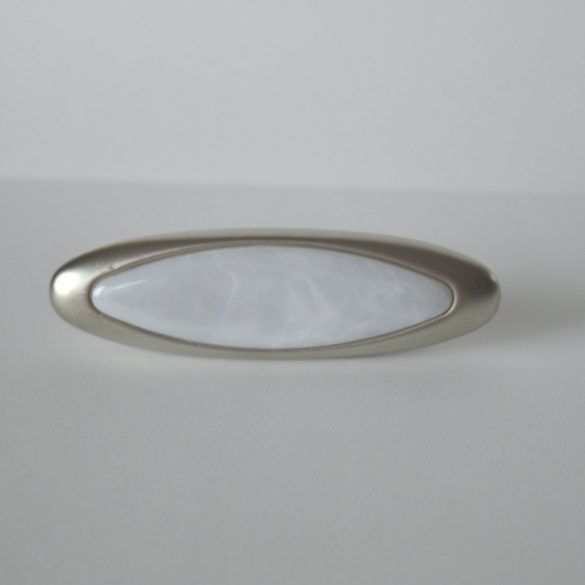 Metal furniture handle, matt nickel, marble pattern, 32 mm bore size
