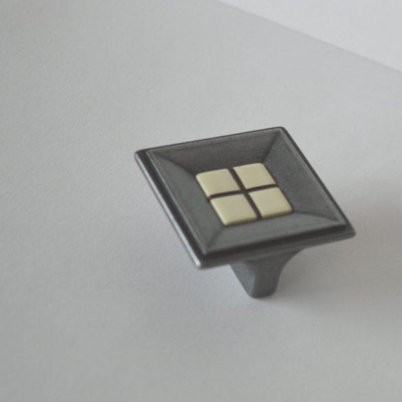 Antik fém bútorfogantyú, antik fekete, kockás márvány mintázat, 32 mm furattávval