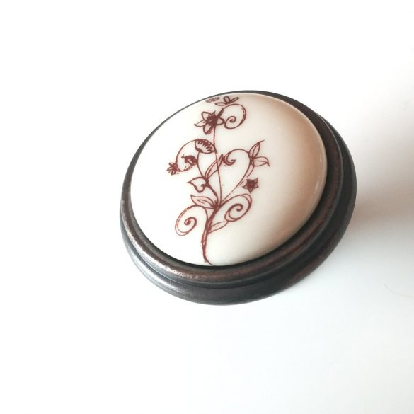 Margarita country bronz/bézs virág porcelán/fém gomb bútorfogantyú