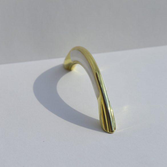 Fém-műanyag bútorfogantyú, arany - fehér színű, 96 mm furattávval