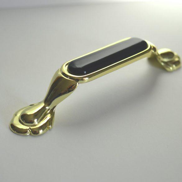 Metall-Kunststoff-Möbelgriff, Farbe gold-schwarz, Bohrung 96 mm