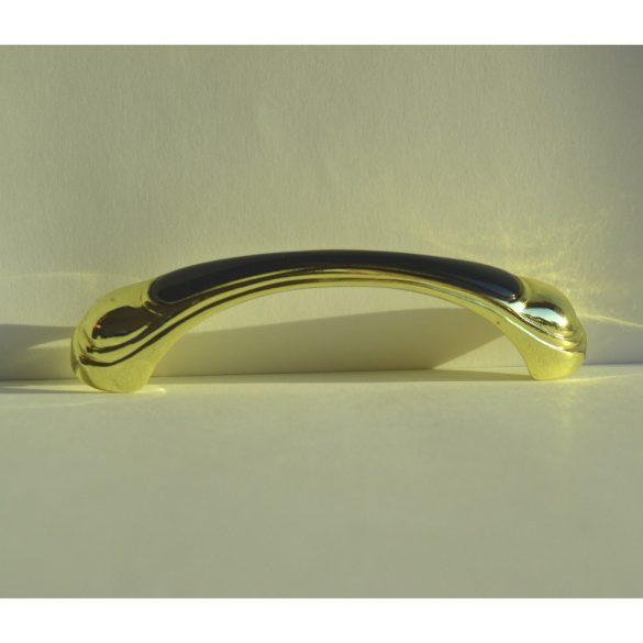 Fém-műanyag bútorfogantyú, arany-fekete, 96 mm furattáv, Retro