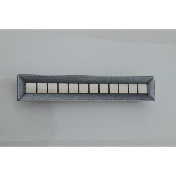 Fém bútorfogantyú, antik fekete színű, pasztell belső résszel, 96 mm és 128 mm furattávval