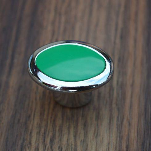 Gombfogantyú, Zöld műanyag betéttel - króm fém résszel