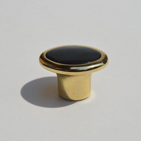 Fém-műanyag bútorgomb, arany - fekete színű