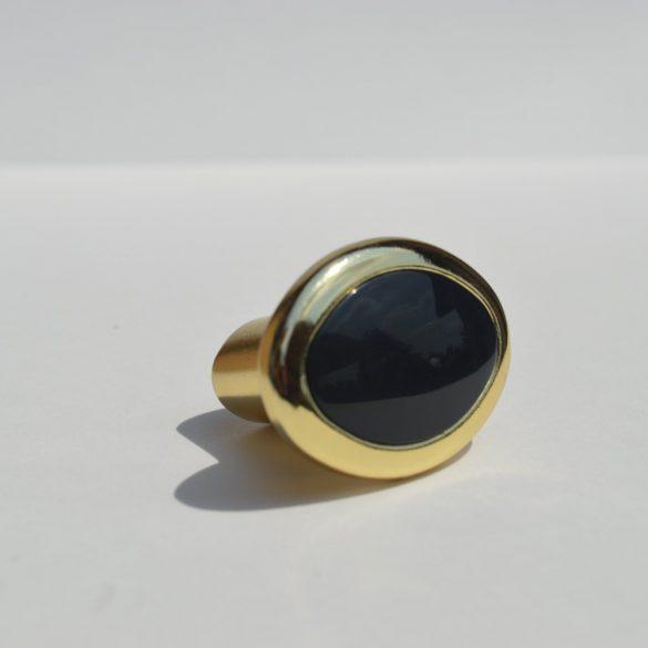 Fém bútorfogantyú, Fekete műanyag betéttel - arany színű fém résszel