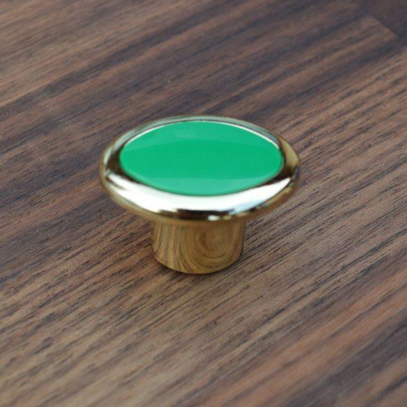 Fém-műanyag bútorgomb, arany - zöld színű