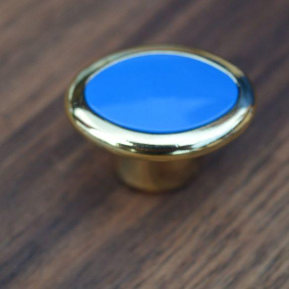 Fém-műanyag bútorgomb, arany - kék színű
