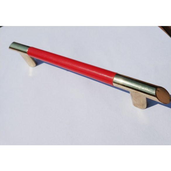 Fém-műanyag bútorfogantyú, 128 mm furattávolság, Arany-piros színben