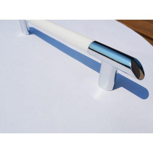 Fém-műanyag bútorfogantyú, 128 mm furattávolság, króm-fehér színben