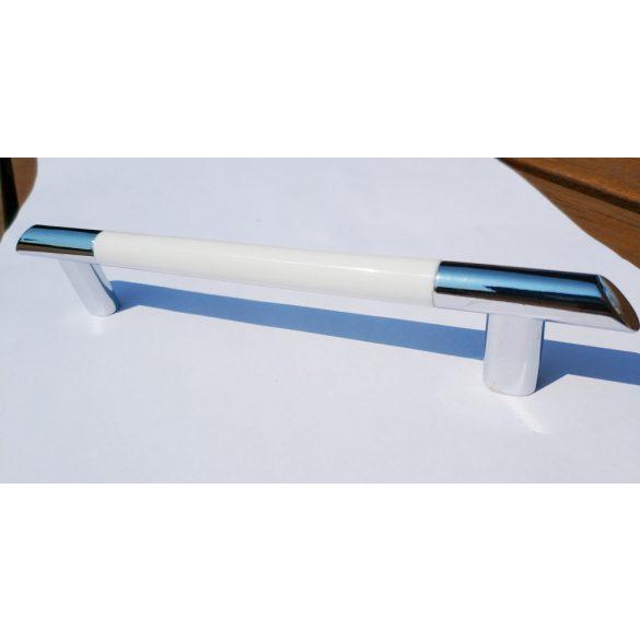Fém-műanyag bútorfogantyú, króm-fehér színű, 128 mm furattávval