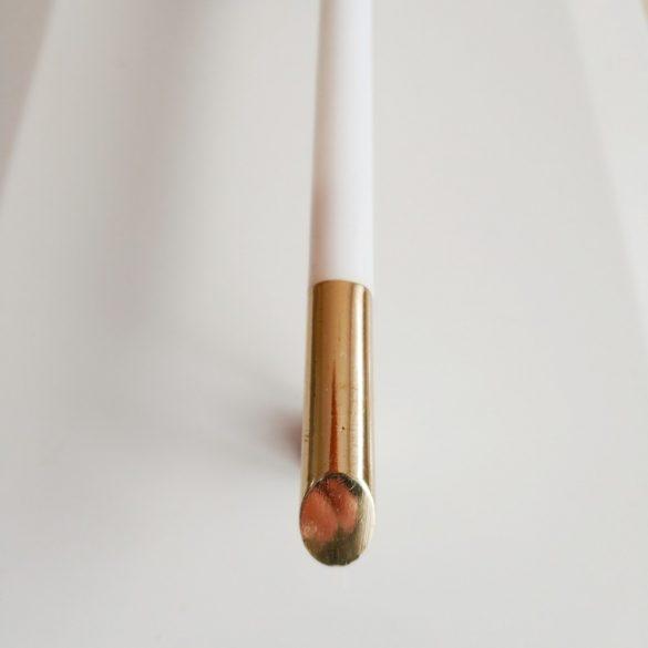 Fém-műanyag bútorfogantyú, 128 mm furattávolság, fehér-arany színben, retro