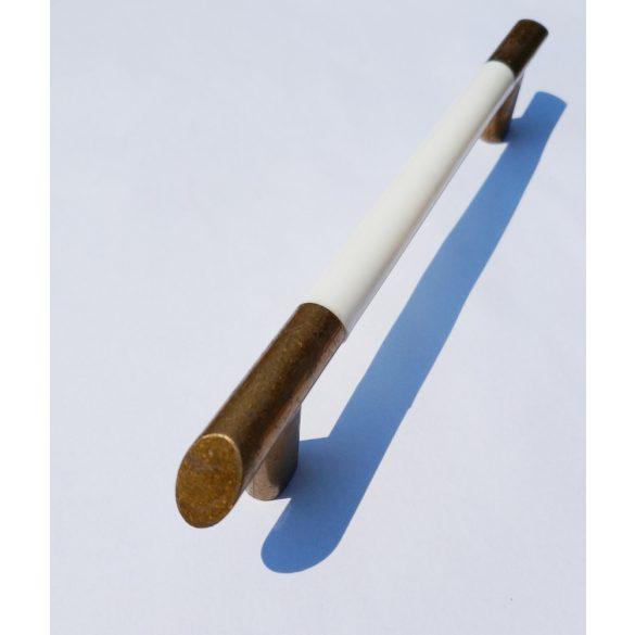 Fém-műanyag bútorfogantyú, 128 mm furattávolság, Antik bronz-fehér színben