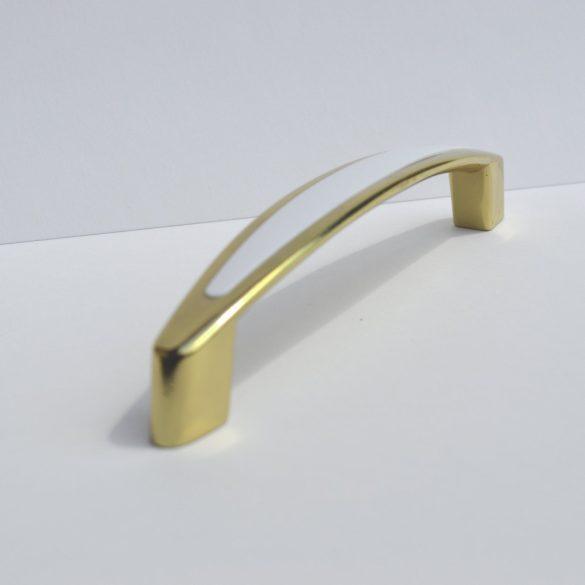 Fém bútorfogantyú, fehér-arany színű, 128 mm furattávval