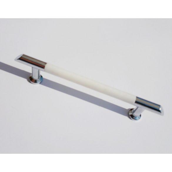 Fém-műanyag bútorfogantyú, króm - fehér színű, 96 mm furattáv