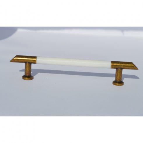 Fém-műanyag bútorfogantyú, antik - fehér, 96 mm furattáv