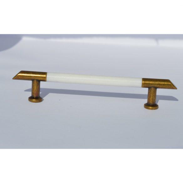 Fém-műanyag bútorfogantyú, antik - fehér színű, 96 mm furattával