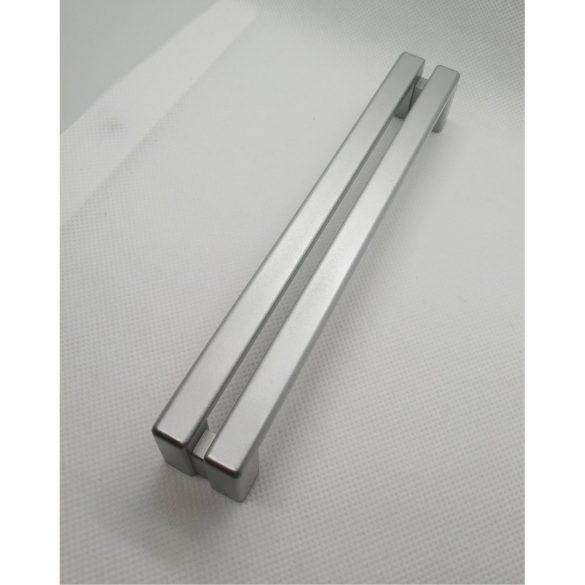 Silver plastic furniture handle, 160 mm bore spacing