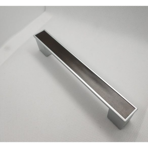 Wood effect furniture handle with chrome plastic frame