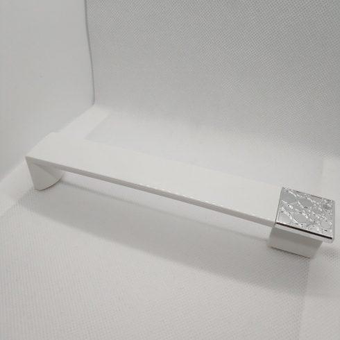 Műanyag bútorfogantyú, Króm - Fényes fehér színben, 160 mm furattáv, Modern stílus