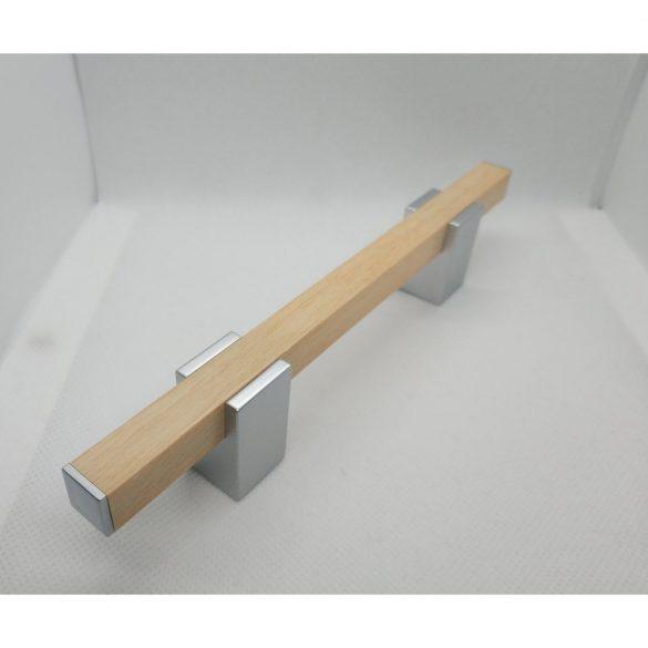 Műanyag bútorfogantyú, Fa hatású- Króm színben, 96 mm furattáv, Modern stílus