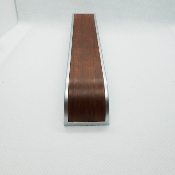 Műanyag bútorfogantyú, Króm - fa hatású színben, 128 mm furattáv, Modern stílus