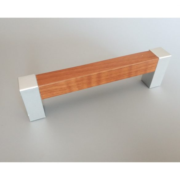 Plastic furniture handle, wood effect, with dark oak-chrome ends, 96 mm bore size