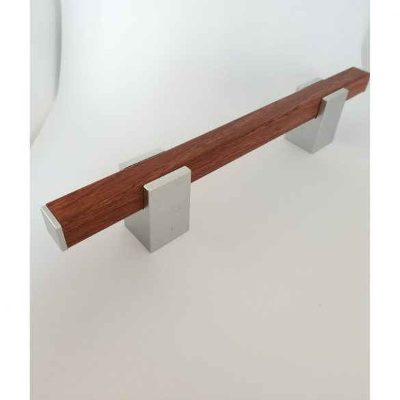 Plastic furniture handle, dark wood effect, chrome colour, 96 mm hole spacing