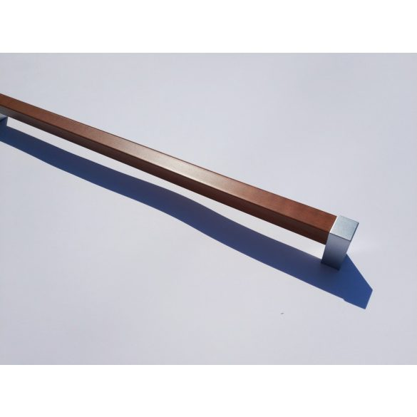 Plastic furniture handles, chrome and wood effect plastic, 320 mm hole width, Modern style