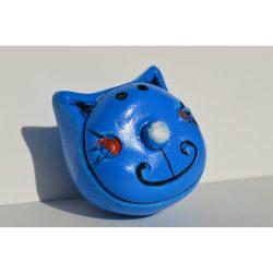 Plastic furniture knob, blue cat figurine