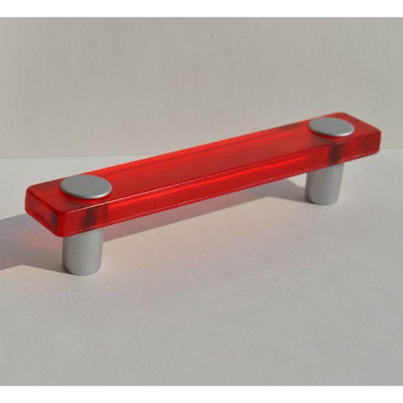 Fém-műanyag bútorfogantyú, piros - matt króm, 96 mm furattáv