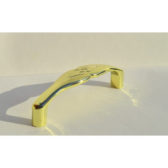 Metal furniture handle, gold colour, 96 mm hole spacing