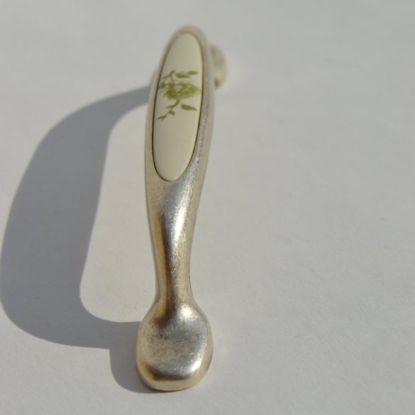 Metal-plastic furniture handle, resin - green flower pattern, 96 mm bore size