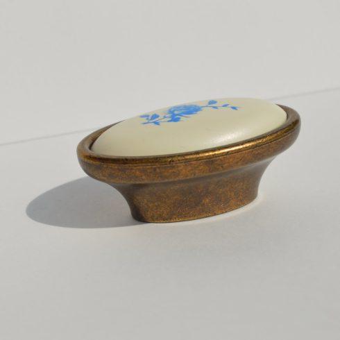 Fém-műanyag bútorfogantyú, Bronz- Fehér - Kék virággal, 16 mm Furattáv