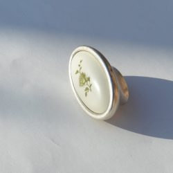 Fém-műanyag bútorfogantyú, Újezüst- Fehér - Zöld virággal, 16 mm Furattáv