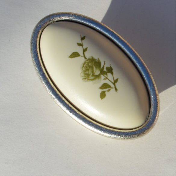 Metal-plastic furniture handle, silver-plated, green flower pattern, 16 mm hole spacing