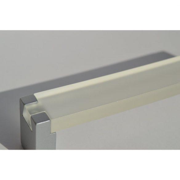 Fém-műanyag bútorfogantyú, fehér - matt króm színű, 128 mm furattávval