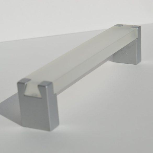 Metal-plastic furniture handle in transparent - matt chrome colour