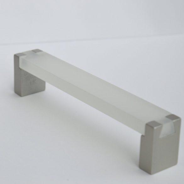 Fém-műanyag bútorfogantyú, fehér - pezsgő színű, 128 mm furattávval