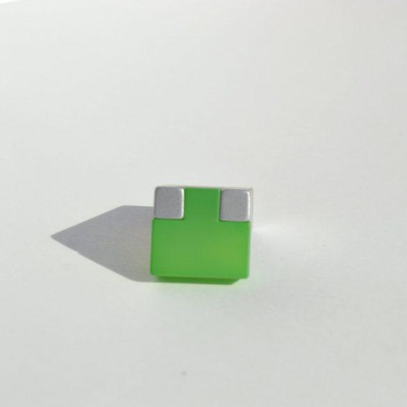 Fém-műanyag bútorfogantyú, zöld - matt króm színű