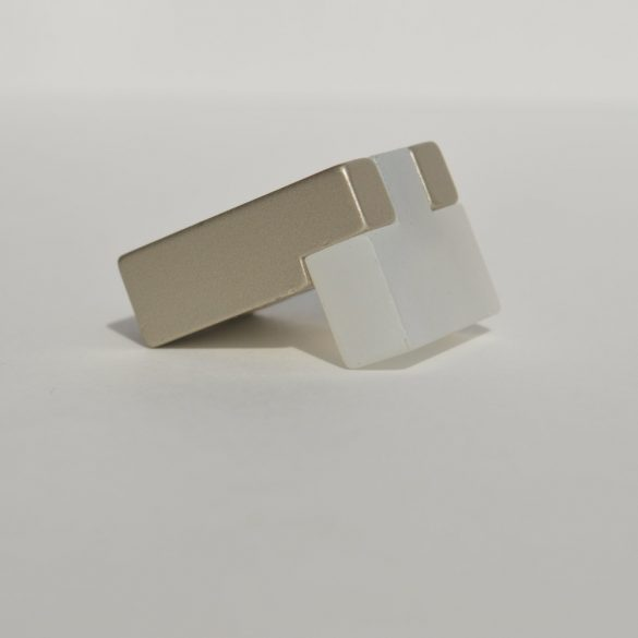 Champagne - white colour, metal-plastic furniture handle