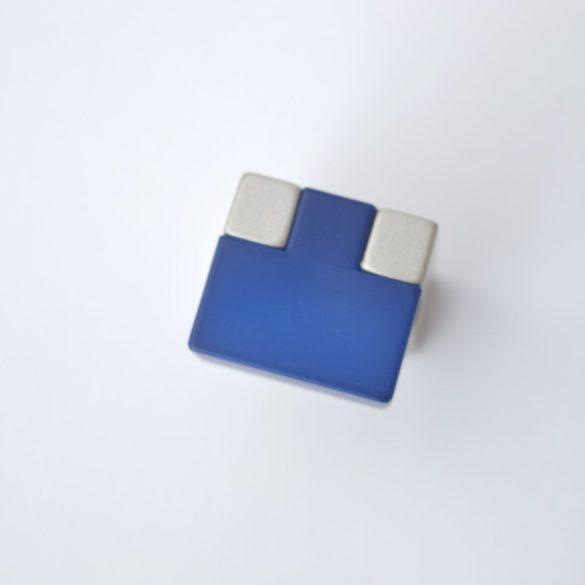 Fém-műanyag bútorfogantyú, kék - pezsgő színű