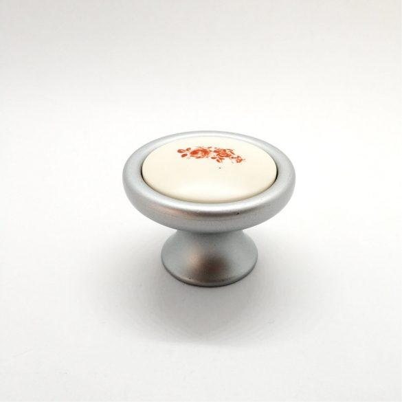 Metal-plastic furniture knob in matt chrome with red flower pattern
