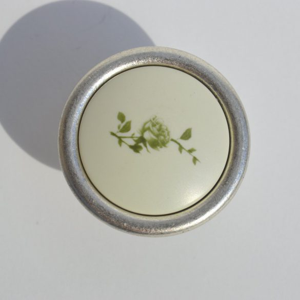 Metal-plastic furniture knob in silver nickel colour with green flower pattern