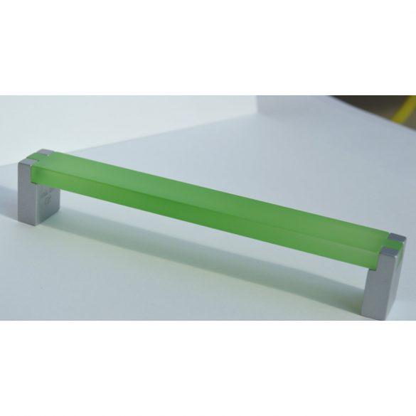 Fém-műanyag bútorfogantyú, zöld akril - matt króm végekkel, 160 mm furattávval
